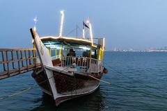 Boat in Doha Bay (from Córdoba) Tags: boat dhow qatar evenig doha bay