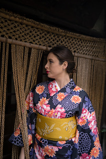 Young British woman entering traditional Japanese restaurant