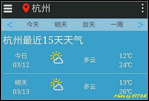 杭州 2018-03-12 天氣