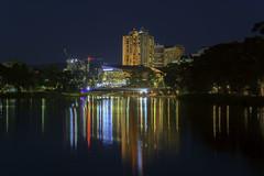 City Light Reflections (ChrisKirbyCapturePhotography) Tags: riverbank rivertorrens adelaide southaustralia reflections citylights cityview cityscape