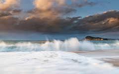 Early Morning Seascape with Clouds and Waves (Merrillie) Tags: daybreak sunrise nature dawn clouds centralcoast morning northpearlbeach sea newsouthwales rocks pearlbeach nsw sky rocky ocean earlymorning landscape australia coastal waterscape outdoors seascape waves coast water seaside