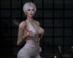 Buon gusto (Charles Parker_) Tags: aliceblizzard charlesparker virtualart secondlife sl tasteful glamour fashion sexy tatoo hairstyle smoking