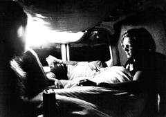 Reminiscing in the campervan (MKREALITY) Tags: sleeping campervan blackandwhite film 35mm light reminiscing chill festival boardmasters england cornwall adventure travel explore portrait photography minolta