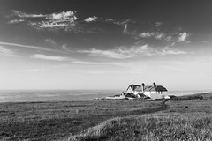 Weybourne Coastgard Cottages, Monochrome (andybam1955) Tags: coastal weybournebeach sky northnorfolk landscape monochrome norfolk oldcoastgaurdhouses