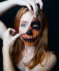 Crazy pumpkin makeup! By @artbybmazz (ineedhalloweenideas) Tags: halloween makeup make up ideas for 2017 happy night before christmas october 31 autumn fall spooky body paint art creepy scary horror pumpkin boo artist goth gothic amazing awesome