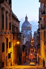 Malta Streets (Douguerreotype) Tags: early dawn balcony dome cathedral church lights night buildings sunrise city malta architecture valletta street urban