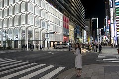 Ginza Girl, Tokyo, Japan (globetrekimages) Tags: tokyo japan ginza architecture mall shoppingmall building night nightscene nightshot woman