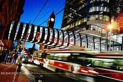 Queen Street Nights (Jamie Hedworth) Tags: sonydslra390 jamiehedworthphotography urban night cityscape city ttc streetcar canada ontario toronto torontoeatoncentre queenstreet