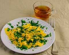 Sunday breakfast. Cheesy scrambled eggs and tea. (garydlum) Tags: parsley iodisedsalt scrambledeggs cheese eggs belconnen australiancapitalterritory australia au