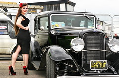 Holly_8832 (Fast an' Bulbous) Tags: girl woman hot sexy pinup model car vehicle classic oldtimer santa pod long brunette hair high heels stockings