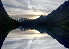 Sunset Reflections (Explored) (thobiasphoto.myportfolio.com) Tags: fjord mountainside mountains peeks sky water norway landscape sunset