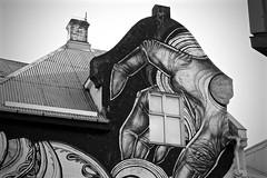 Building Art in Reykjavik (Kayla Warkentin) Tags: building art iceland reykjavik hand blackwhite