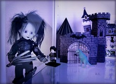 Scissorhands meet Scissorhands (pianocats16) Tags: edward scissorhands living dead doll dolls mezco toyz tim burton movie figure lego mini me dino haunted manison castle display