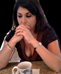 coffee & cleavage (jemingway3) Tags: hot sexy brunette babe cougar mature married wife mom milf shared hotwife lynda rack cleavage downblouse busty chesty wedding ring