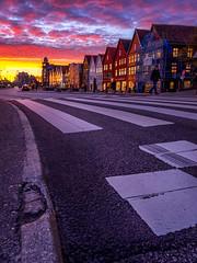 Burning sky in Bryggen, Bergen, Norway (Paulius Bruzdeilynas) Tags: bergen norway norge norwegian city bryggen sunset burningsky evening road spring weather sony sonyalpha sonya7ii