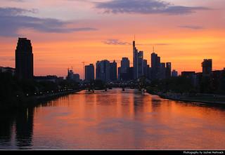 Sunset seen from Deutschherrnbrücke, Frankfurt, Germany