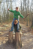 On the Stump (FAIRFIELDFAMILY) Tags: leaves virginia sc grant carson child playing climbing ropes course sliding winnsboro fairfield county patagonia coat jacket fleece mountain mountains log tree winter outside nature explore children fun pretty old young boy jason michelle south carolina travel