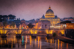 Ponte Umberto View - Textured HDR (byron bauer) Tags: byronbauer saintpetersbasilica saintangelobridge rome italy sunset dusk lights cityscape reflections water tiber river painterly texture highdynamicrange hdr streetlights illumination dome bridge ponteumberto vatican