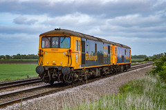 73119 + 73107 - North Fen - 16/05/18. (TRphotography04) Tags: gb railfreight gbrf 73119 borough of eastleigh 73107 tracy pass north fen drove litle downham working 0e66 1612 ely papworth sdgs peterboro maint shed a very rare sight see class 73s peterborough line