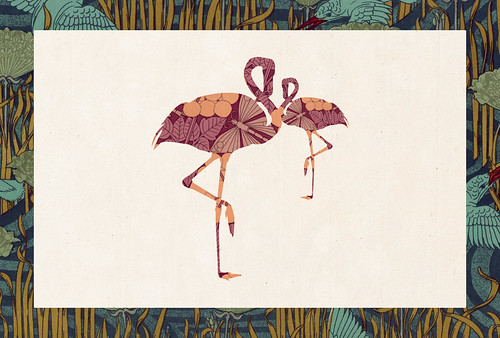 Carte postale // 10x15cm // Flamant rose