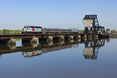 Geeps at Peace (sully7302) Tags: nj transit secaucus new jersey meadowlands hackensack river hx reflection east out emd gp40ph2 4112 central railroad cnj cnjrr bridge drawbridge water f40ph3c 4907 train passenger