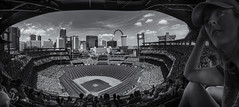 Bottom of the 9th. (amy buxton) Tags: amybuxton stlouis spring clouds architecture cityscape city urban people baseball stlouiscardinals team stadium newbuschstadium stlouisskyline stlouisarch fujix100s mono instagram