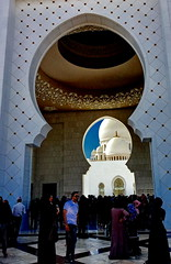 Framed domes of Sheikh Zayed Mosque (peggyhr) Tags: peggyhr arch domes people silhouettes img4812a abudhabi uae sheikhzayedmosque blue white black dslrautofocuslevel1 groupecharlie01 visionaryartsgallerylevel1 thegalaxy super~sixbronze☆stage1☆ thelooklevel1red frameit~level01~ thegalaxystars thegalaxylevel2