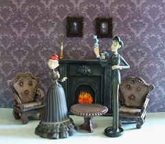 Miniature Corpse Bride furniture - Living Room (redmermaidwerewolf) Tags: tim burton gothic mini miniature doll house dollhouse room box shadow display furniture cardboard craft handmade home made paper polymer clay air dry sculpted tiny figure the corpse bride victor victoria keychain selena kyle batman returns