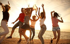 group of happy young people dancing at the beach on  beautiful summer sunset (fotosvergara) Tags: jesús vergara puerto ordaz teenagers dance party friends beach youth disco dancing sunset silhouette picnic sea group joy fun orange people men women jumping young evening coast active happiness friendship weekend relationships vacation holiday carefree summer girl shore six students teen beautiful sunlight celebrate leisure enjoyment festival celebration music together company dancer night
