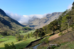 Helvellyn, from Lanty's Tarn, Glenridding, Cumbria, England (vincocamm) Tags: mist misty morning track wall helvelyn cumbria glenridding patterdale sunny sun springtime spring shadows blue green