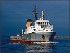 ANGLIA SHORE (Jason 87030) Tags: boat ship supplyvessel aberdeen harbour water scotland uk scan slide seagulls birds reflection wet craft scene sea coast angliashore