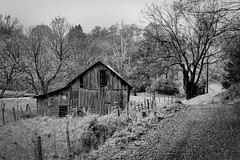 "Road less travelled (hutchphotography2020) Tags: mono blackandwhitebarn virginia rural unpavedroad fenceposts fence nikon ""nikonflickraward"""