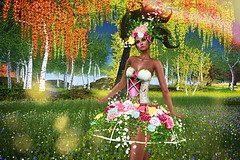 Intense Spring Colors (kare Karas) Tags: woman spring colors girl girly sweet beauty intense mesh hair headpiece corsete skirt heels eyeshadows bento cute outdoors flowers event virtual avatar secondlife game fun nature irrisistible poema swankevent
