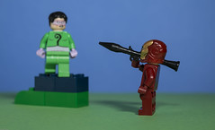 The Riddler has seized the 'high ground' but Iron Man has a RPG ! (N.the.Kudzu) Tags: tabletop lego minifigures riddler ironman primelens canondslr canon50mmf18 canoneflens canon ex