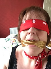 My Amazing Scarf Lady (scarfandbandana69) Tags: bandana bandanna kerchief neckerchief scarf gag gagged blindfold blindfolded