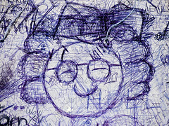 Mrs Doubtfire (Steve Taylor (Photography)) Tags: glasses hair mother wow curlyhair spectacles face art cartoon drawing sketch portrait blue white monocolour monocolor newzealand woman lady nz southisland canterbury christchurch ink pen scribble