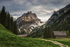 Alpstein (michaelreubi) Tags: sunset sun mountains mountainrange peaks clouds cabins alpine alps alpen alpstein appenzell appenzellerland schweiz switzerland ostschweiz
