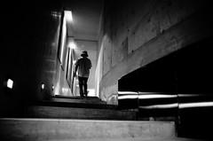 Go Down To The Basement... (明遊快) Tags: bw blackandwhite lights dark step noir man japan mono people