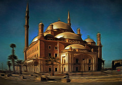 Mosque of Muhammad Ali in Cairo. Egypt (V_Dagaev) Tags: mosque muhammadali egypt cairo cairoattractions sights sightseeings building architecture art sky blue visualdelights africa dynamicautopainter digital painterly painting touring