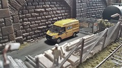 Picking Up Materials. (ManOfYorkshire) Tags: buildersyard sheffield tcharrison fordtransit van workmen workman 176 scale model diorama oogauge oxforddiecast diecast railway micro security fencing mesh metal
