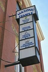 Masonic Temple, Jackson, OH (Robby Virus) Tags: jackson ohio oh masonic lodge temple sign signage masons freemasons freemasonry fraternal organization trowel 132