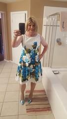 More metallic patent pumps (krislagreen) Tags: tg transgender transvestite cd crossdress tv floraldress dress pumps highheels metallic patent femme feminized feminization blond