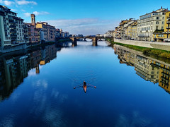 rower (my lala) Tags: rower florence firenze firenca italy sunny blue river ponte bridge reflexion peaceful
