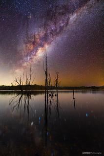 Milky Way rising over Lake Moogerah