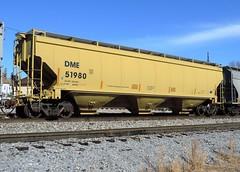 DME 51980 (Proto-photos) Tags: dme dakotaminnesotaandeastern 51980 yellow coveredhopper 3bay 60ft railcar train railroad rollingstock freightcar connellsville pennsylvania lo c114