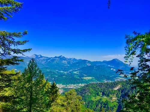 View over river Inn valley from Kaiser mountains in Tyrol, Austria