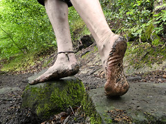Stepping stones (Barefoot Adventurer) Tags: barefoot barefooting barefoothiking barefooter barefeet barefooted baresoles barfuss soles strongfeet stainedsoles stones wrinkledsoles wetmud toughsoles toes texture muddysoles muddyfeet muddy arches anklet arch ankles tough hiking healthyfeet happyfeet hardsoles heelcracks naturallytough naturalsoles nature connected callousedsoles earthsoles earthing earthstainedsoles energy