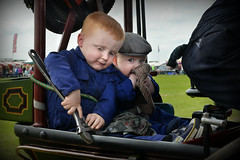 Two little boys (1) (PentlandPirate of the North) Tags: little boys tractionengine outdoorshows ashleyhall spanner adjustable steam vintage brothers cute rally cheshire england flatcap human candid