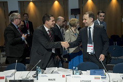 Christopher Cutajar greets Rokas Masiulis at the Closed Ministerial