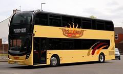 Yelloway Coaches, Chadderton, Oldham M90 YEL makes the turn onto Broadway in Chadderton en route to Halifax. (Gobbiner) Tags: yellowcoaches chadderton yx66wlj e400mmc gogoodwins enviro yellowaymotorservices m90yel